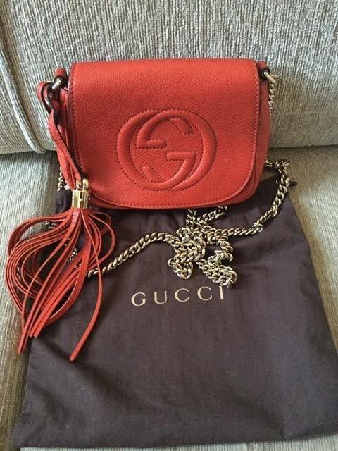 Bolsa Gucci Pequena Inspired : R?plica de bolsa gucci chain shoulder bag vermelha