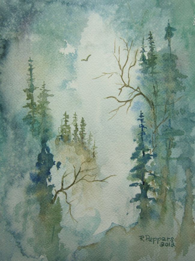 watercolor blue in the mountains