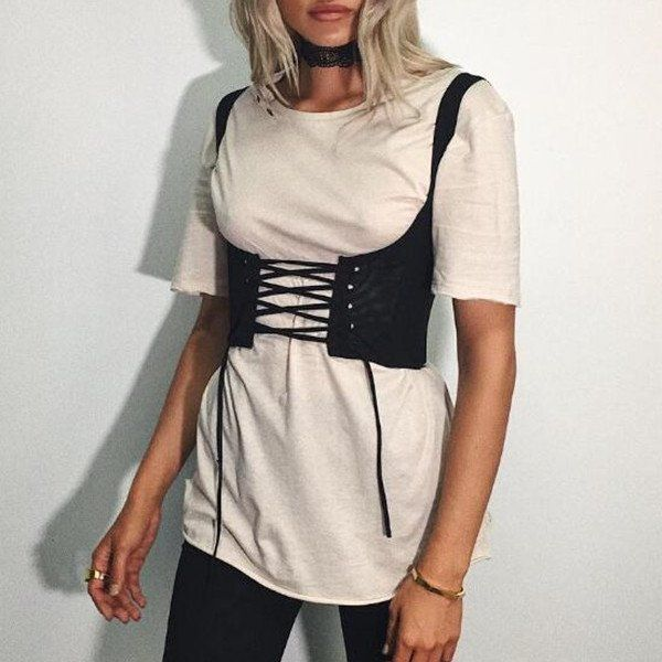 72fe7257473 Street Outfits Kylie Trendy Lace-up Waistcoat Coset Belt Cropped Vest Tank  Top – Lupsona