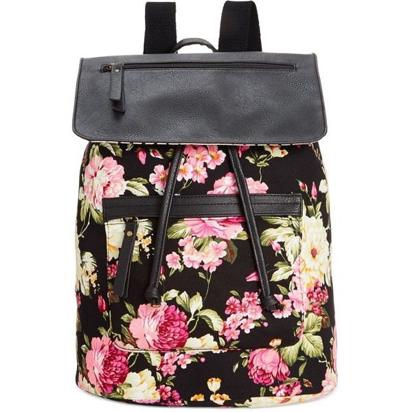 Madden Girl Bposted Backpack (195 BRL) ❤ liked on Polyvore featuring bags, backpacks, accessories, purses, black floral, floral pattern backpack, floral backpack, black rucksack, canvas knapsack and flower print backpack