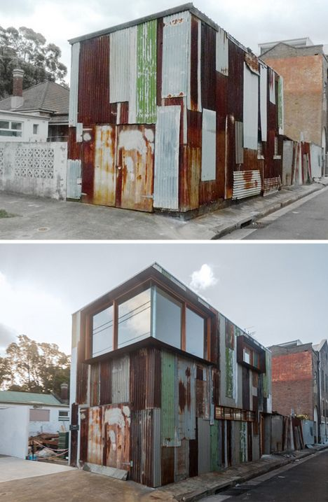 The newly-reconstituted building dubbed 'Tinshed'  by Raffaello Rosselli (images by Mark Syke) is made from the metal of the old abandonment. It is still pockmarked, with a haphazard surface that slips between gray, green, white and red – its panels overlapping in odd and seemingly chaotic patchwork patterns. Now, however, it these frame a few more oddities, like windows for the first time in the site's life.