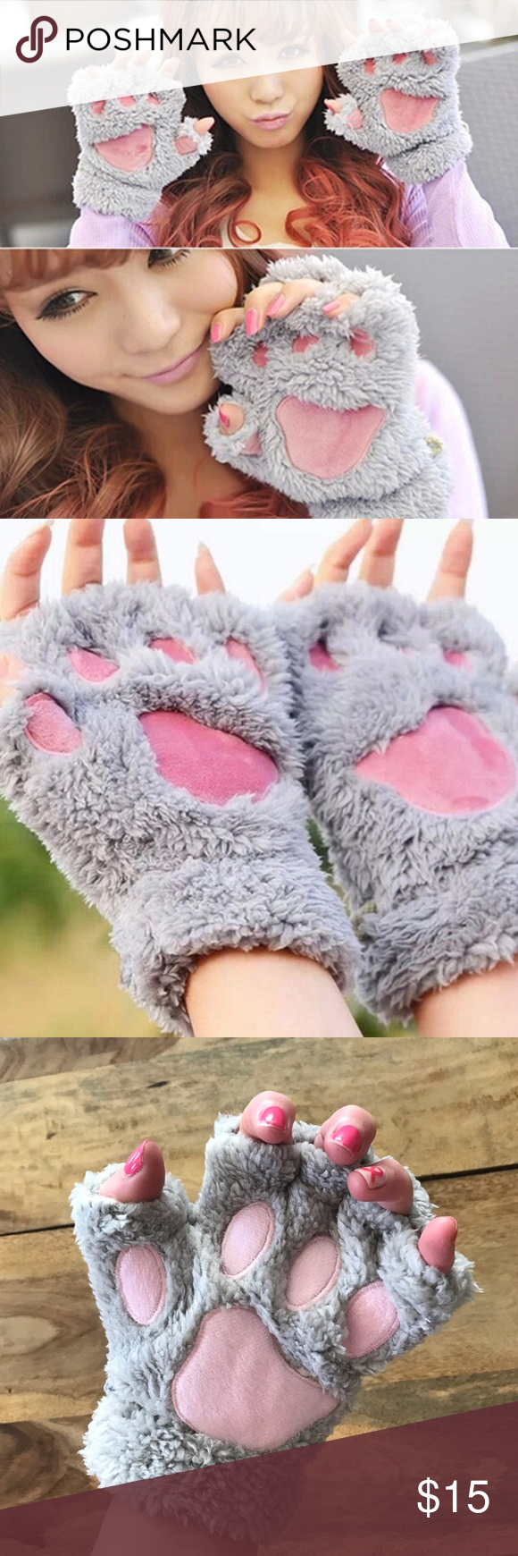 Cute animal paw fingerless gloves One size Accessories Gloves & Mittens