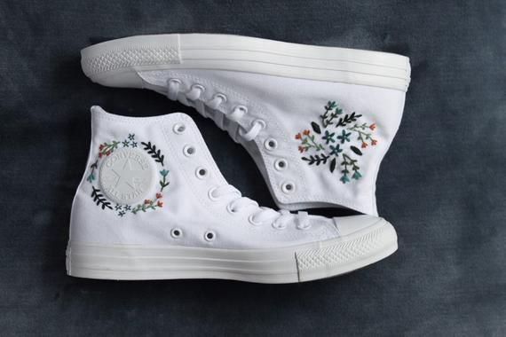 Flower Embroidered Converse | Etsy | Embroidery shoes