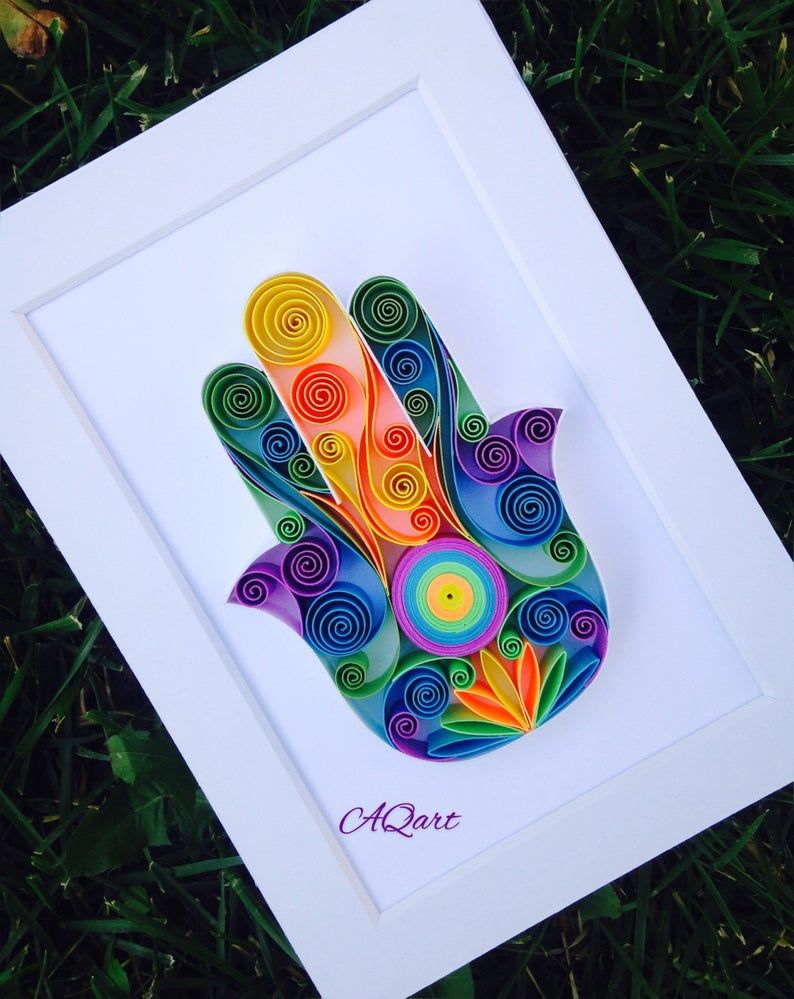 Quilling Art Hamsa Hand Unique Gift Paper Wall Etsy In 2021 Paper Gifts Anniversary Paper Quilling Patterns Quilling Art