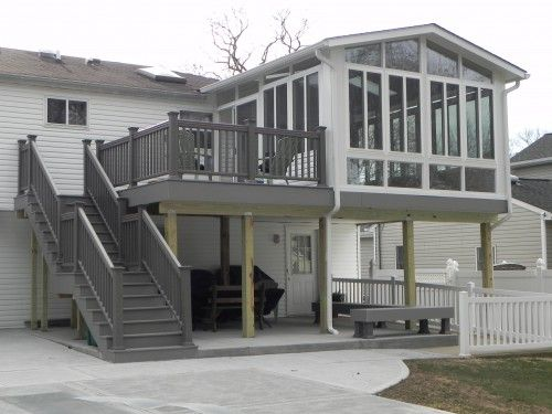 Two story decks with stairs nice two story sunroom on deck with stairs 1302