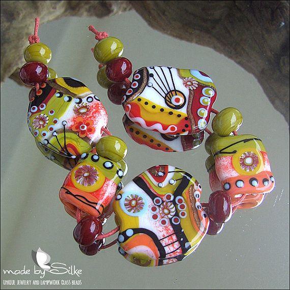 13 handmade lampwork beads  SRA  glass  Calypsos by calypsosbeads, $75.00