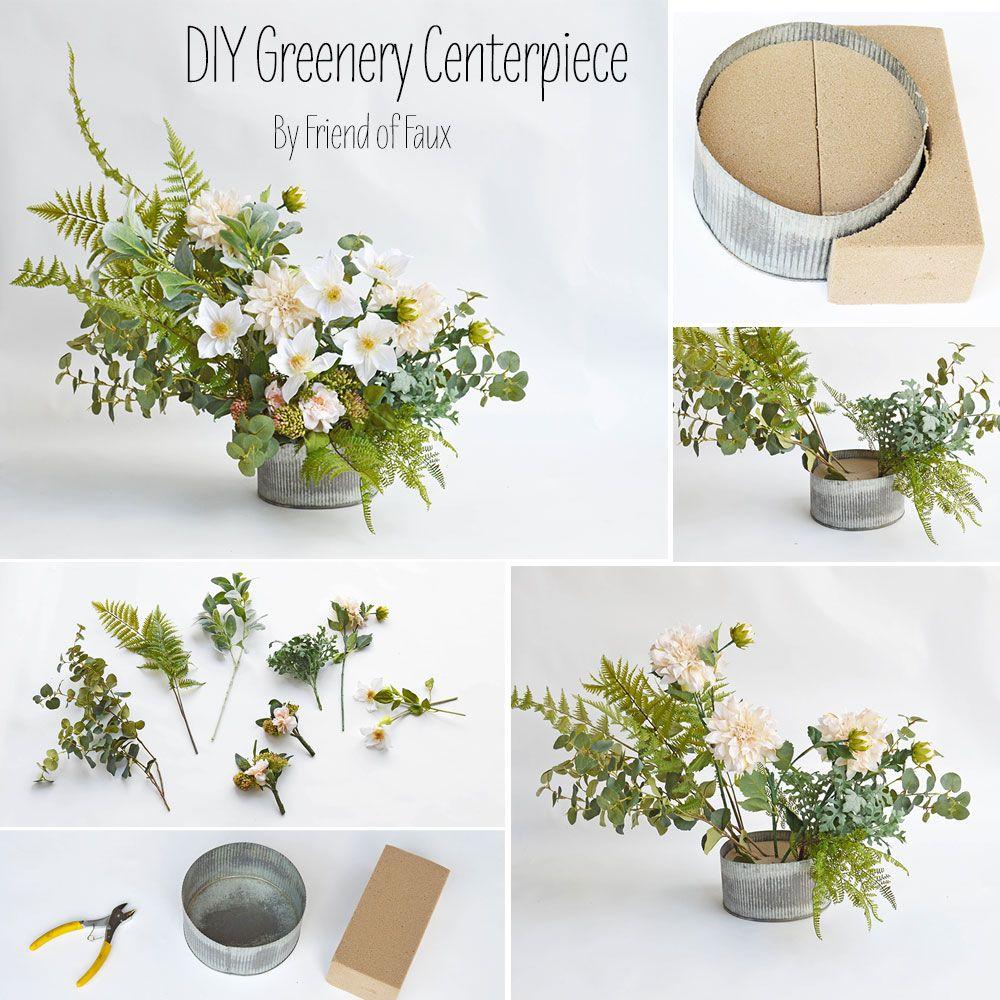 DIY Greenery Centerpiece Greenery centerpiece, Diy