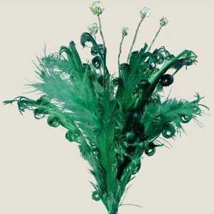 """Green Curly Feather Spray, 12"""" (Box of 12) 15 for $12  -Spray with Glitter spray paint -Add a tall gold or ivory flower or accessory"""