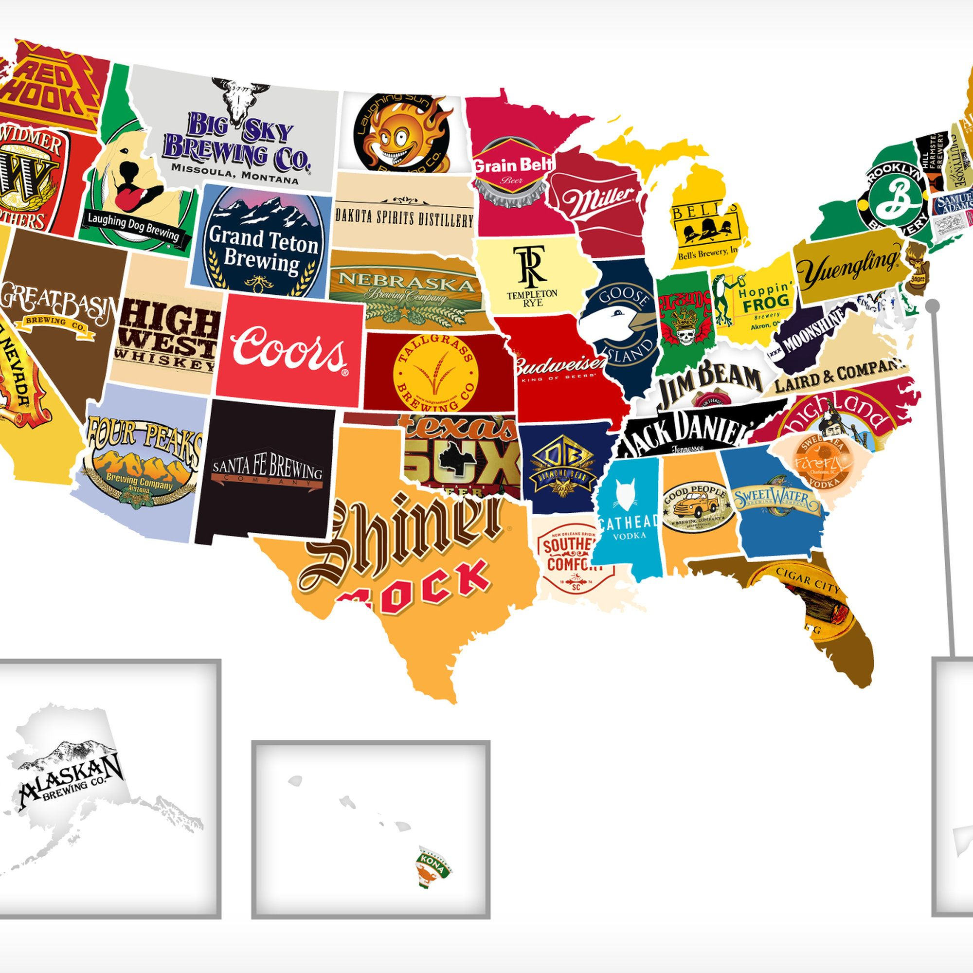 Red White And Booze Mapping All 50 States Most Iconic Beerhooch - Us-brewery-map