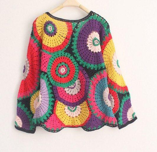 Crochet sweater girl sweater women sweater by auntieshirley