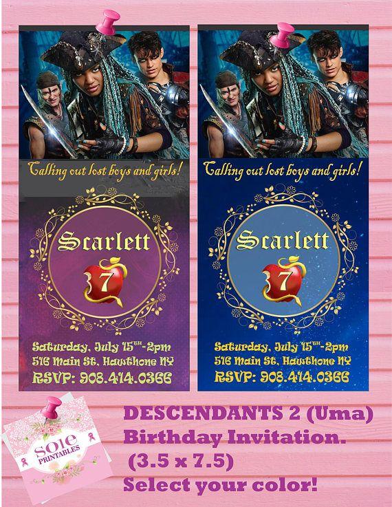 DESCENDANTS 2 UMA INVITATION Descendants Uma 2nd Birthday Invitations 9 Year Old Girl