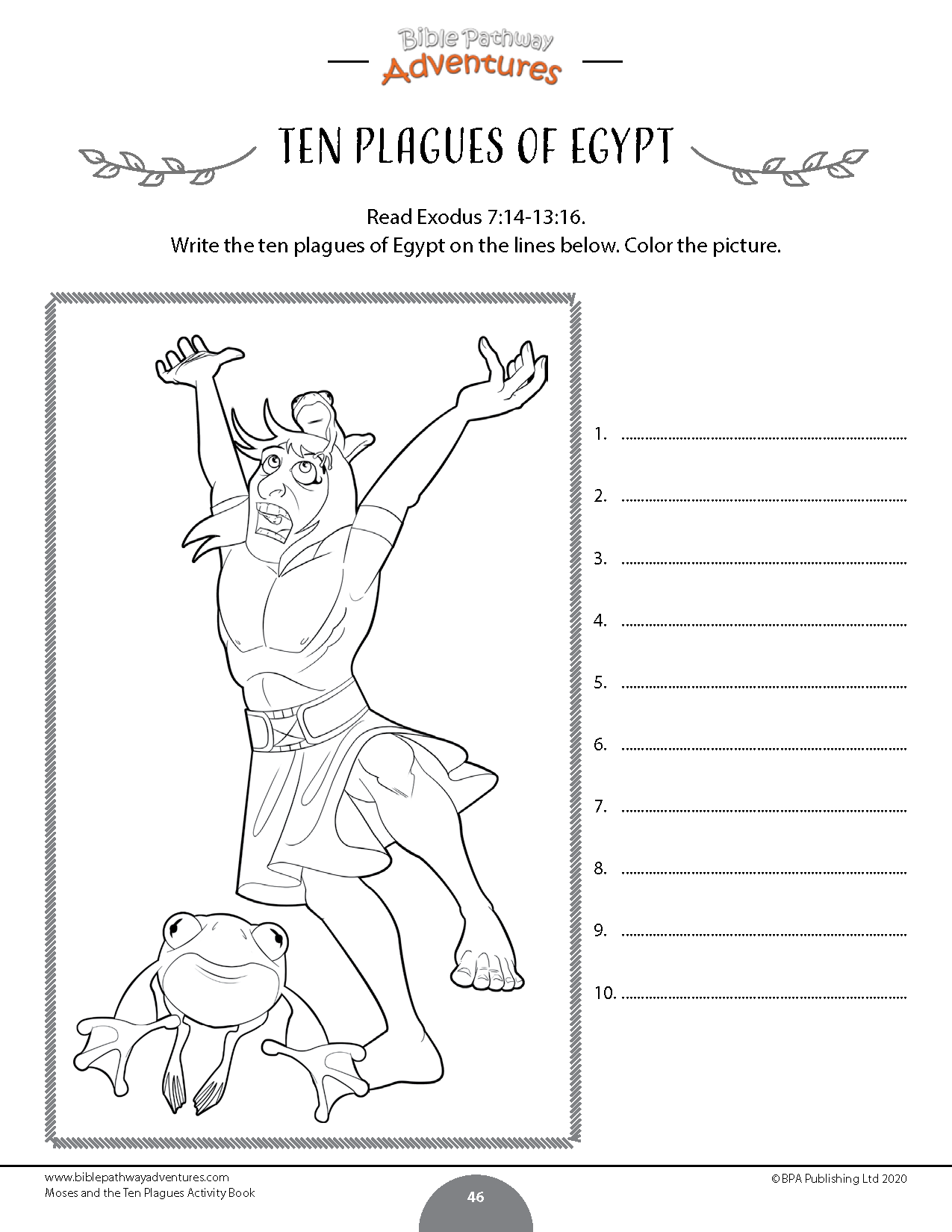 Moses And The Ten Plagues Bible Activity Book In