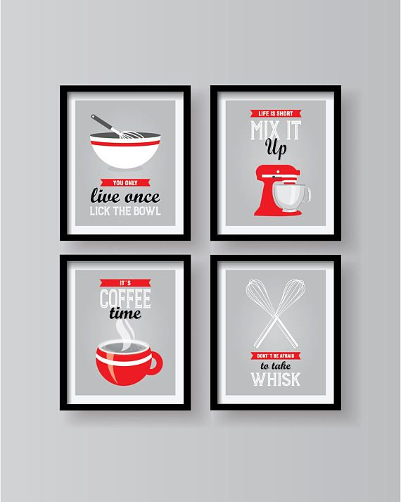 Red Kitchen Poster Set Kitchen Decor Kitchen Wall Art