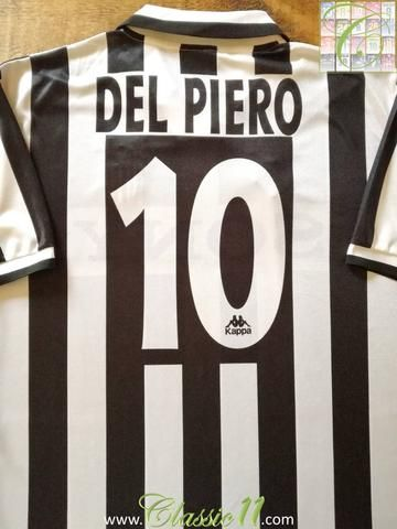 3e5c80691 Official Kappa Juventus home football shirt from the 1995 1996 season.  Complete with Del Piero  10 on the back of the shirt