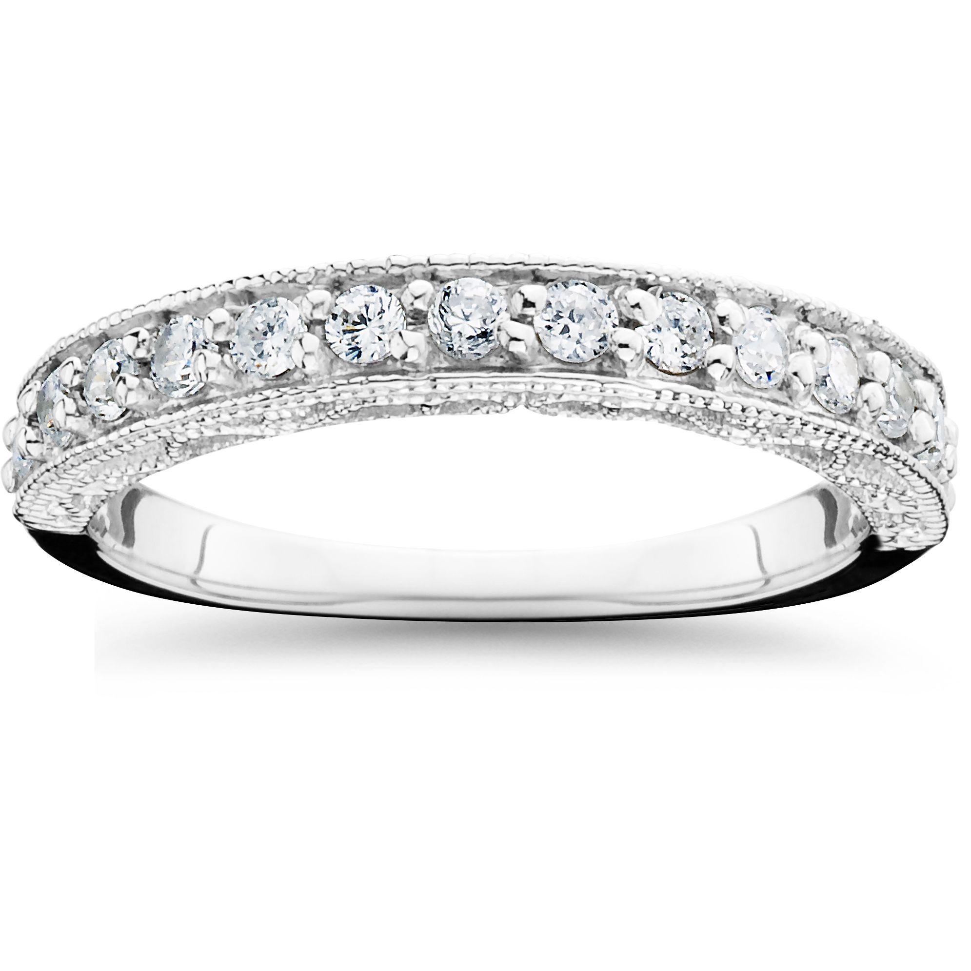14k White Gold 1 2ct TDW Diamond Wedding Ring I J I2 I3 Size 9