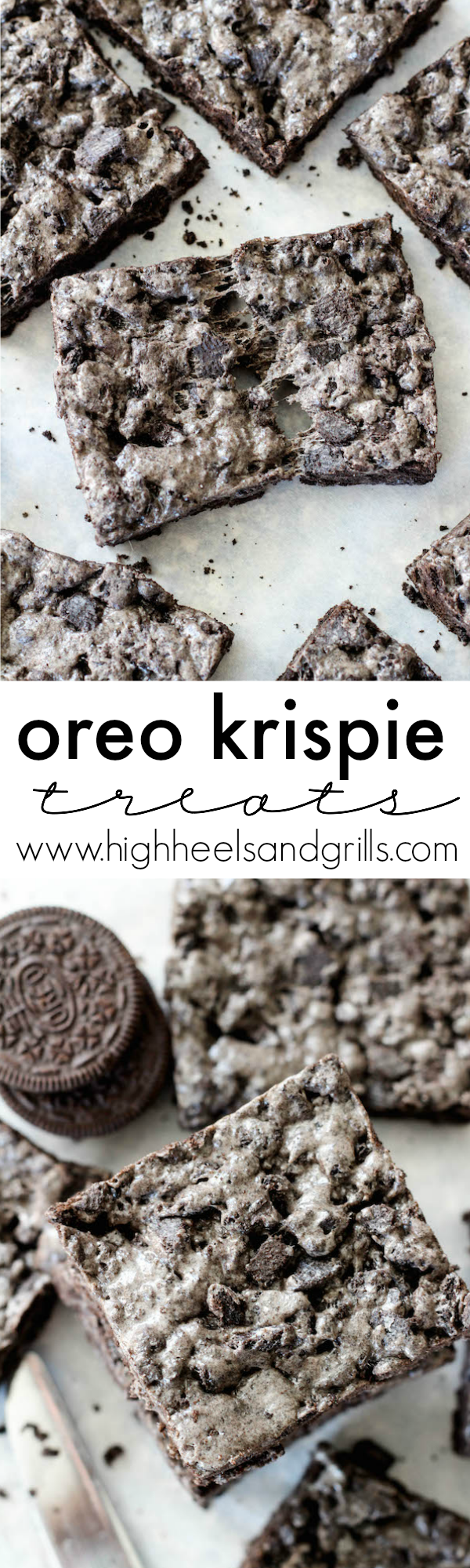 These Oreo Krispie Treats are a fun twist on traditional rice krispie treats! Instead of using Rice Krispie Cereal, the base is made from chunky Oreos crumbs. Toss those in with some butter and marshmallows and they taste like a dream!
