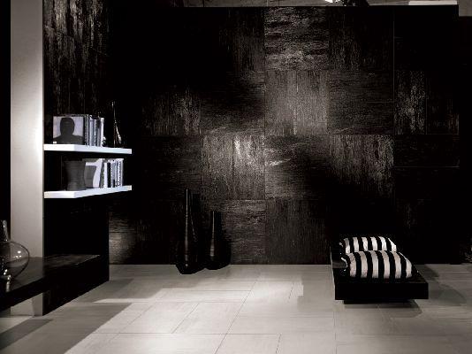 Black tile wall for living room...divine!