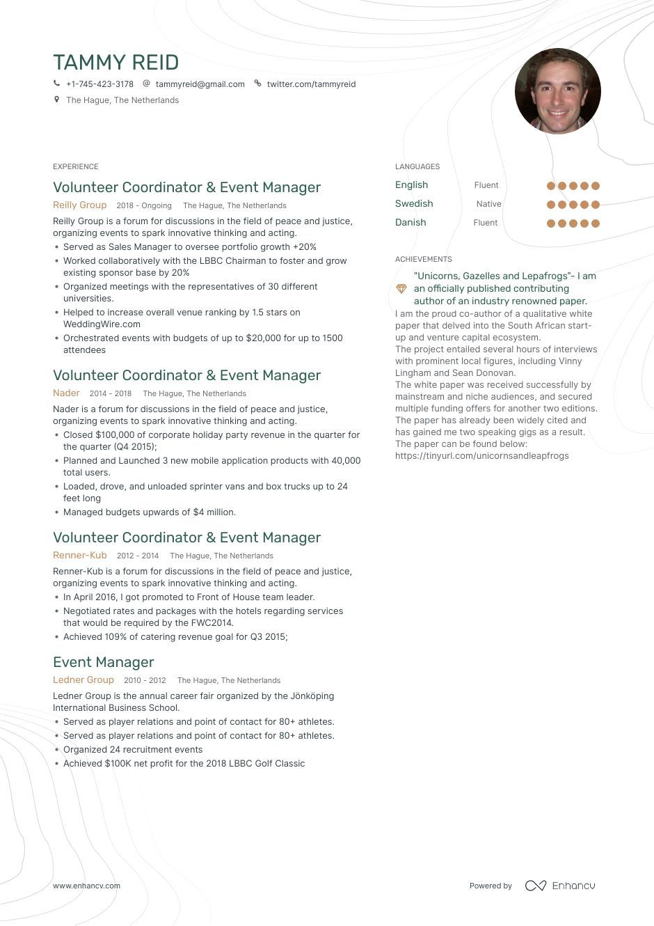 Download event manager resume example for 2020 with