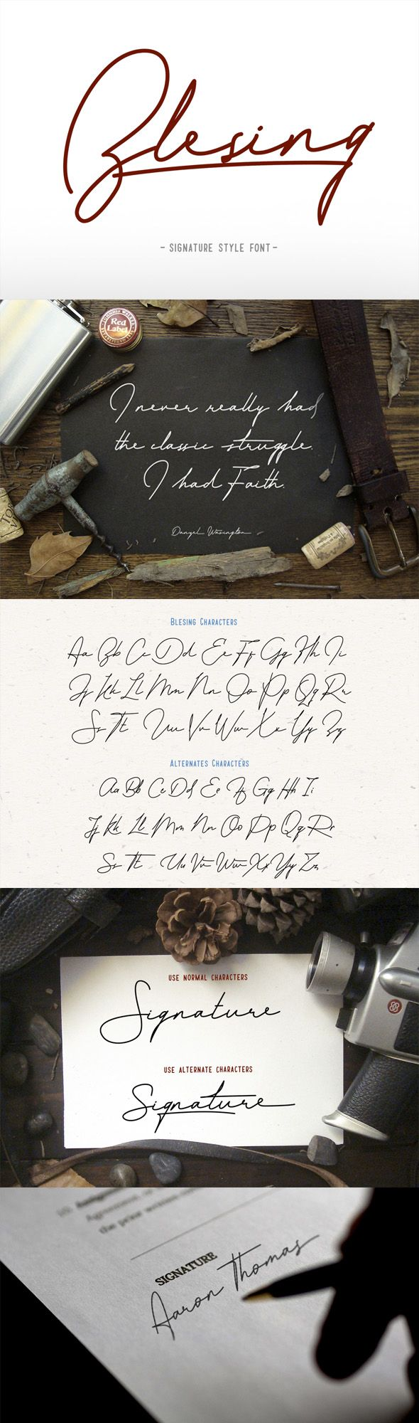 Blesing signature style — OpenType OTF #monoline #poster • Download ➝ https://graphicriver.net/item/blesing-signature-style/19408904?ref=pxcr