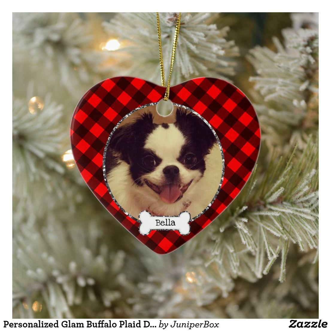 Personalized Glam Buffalo Plaid Dog Photo Ornament