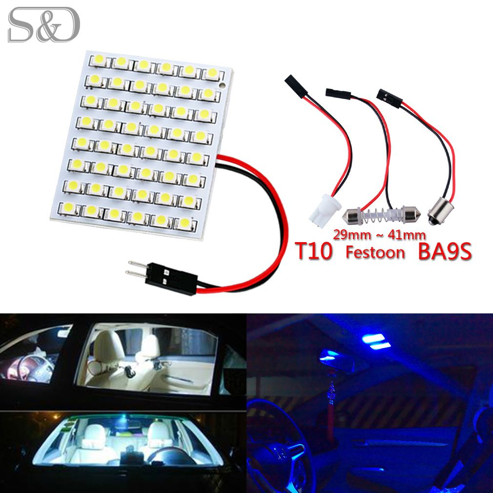 Cool White LED 48SMD Panel Dome Interior Lights 10 × Festoon T10 BA9S Adapters