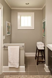 Master Bathroom Benjamin Moore Revere Pewter  Love this color and how the wood