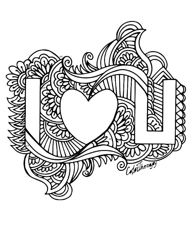 I love you Hearts Love Coloring