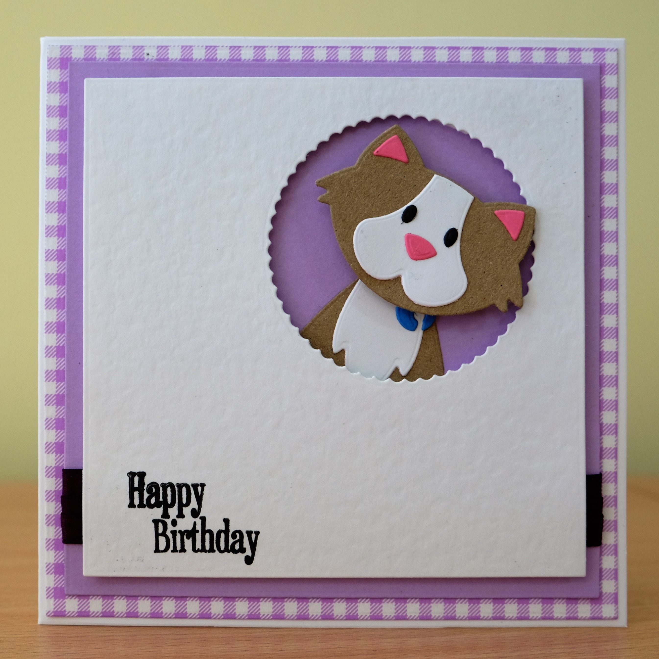 Handmade birthday card marianne collectables cat die card