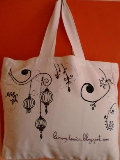 Bolsa de tela violet black tela de algod n pintura textil - Bolsas para pintar ...