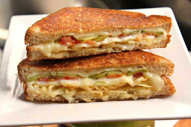 Grilled Cheese with Tomato, Pickles and Potato Chips. So weird I just have to try it!