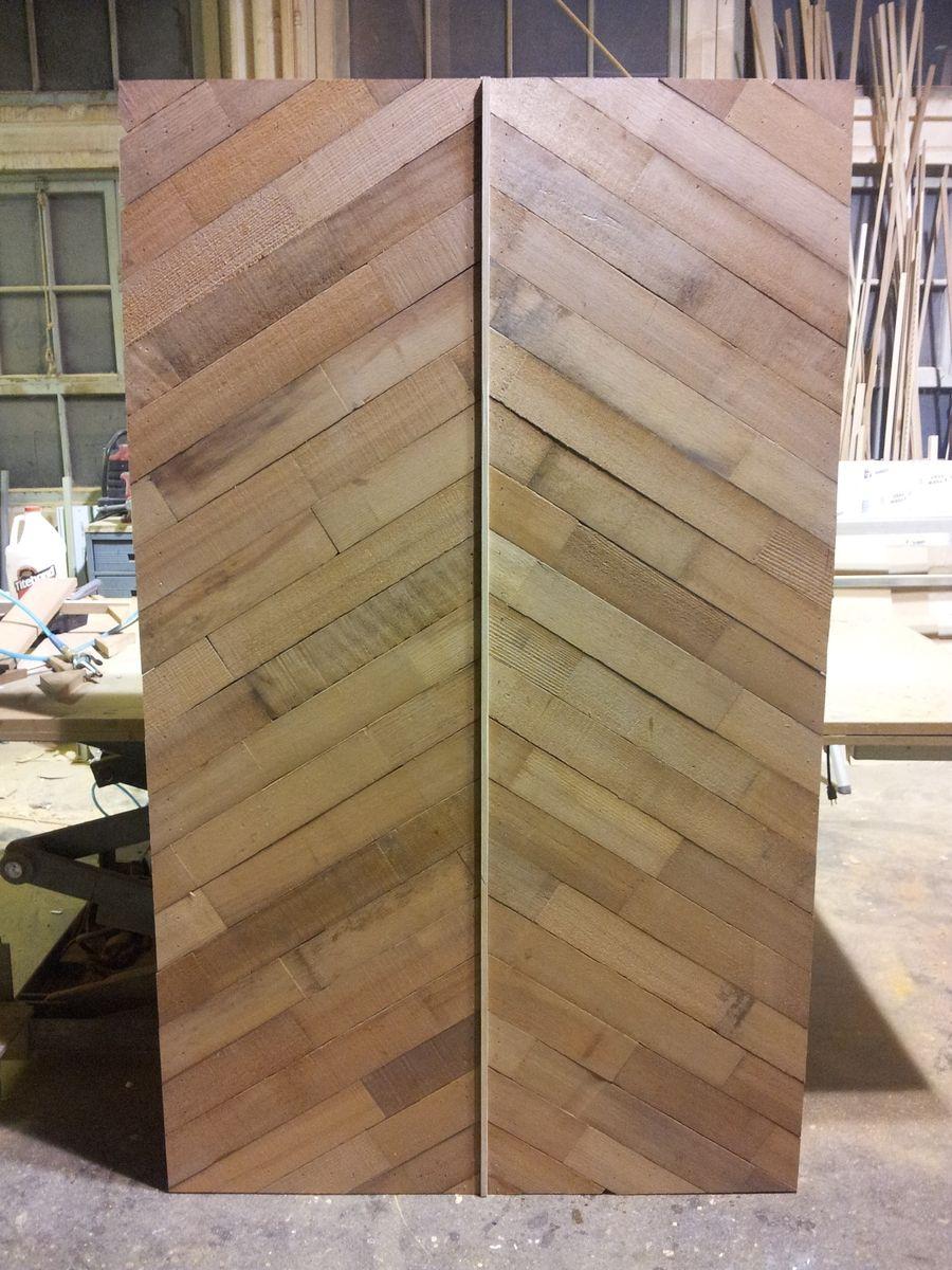 Custom Salvaged Redwood Herringbone Sliding Door by Alexis ...