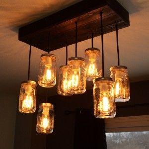 Decor Tips Salvaged Live Edge Wood Edison Bulb Chandelier For Ceiling Lighting Ideas Lamparas De Mason Jar Lamparas Con Tarro Iluminacion Con Frascos