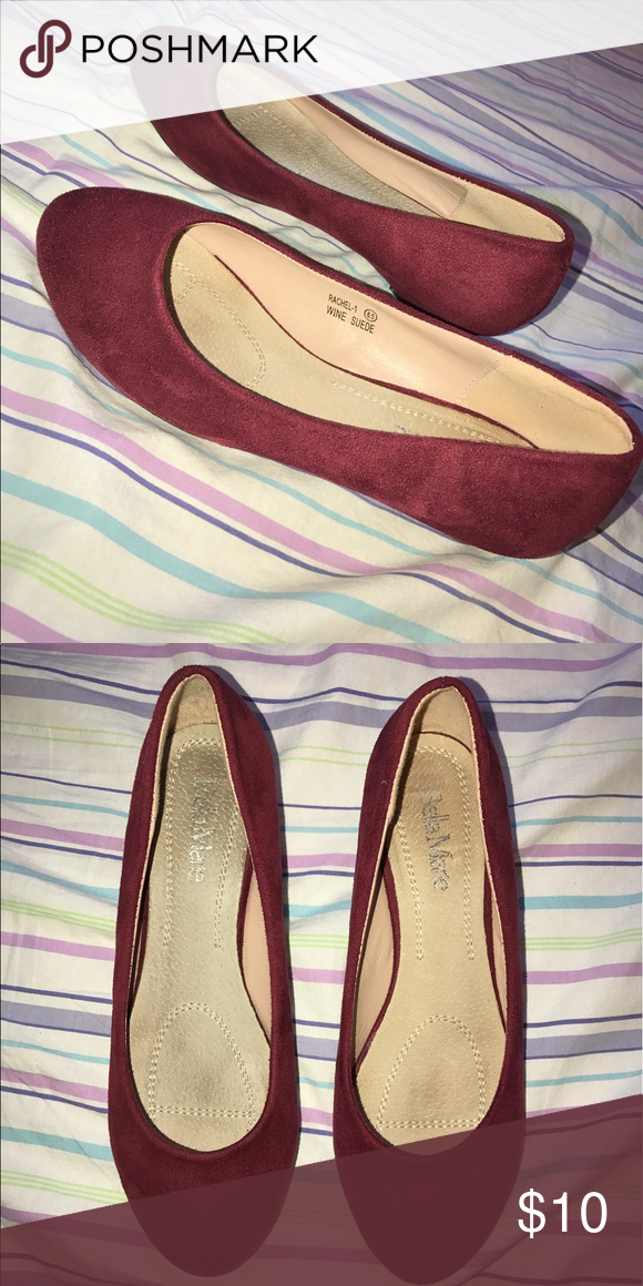 Wine Suede Flats It is a wine colored suede flat with a very small heel. They have been worn a few times but looks nice! In good condition. Size 6.5 Shoes Flats & Loafers