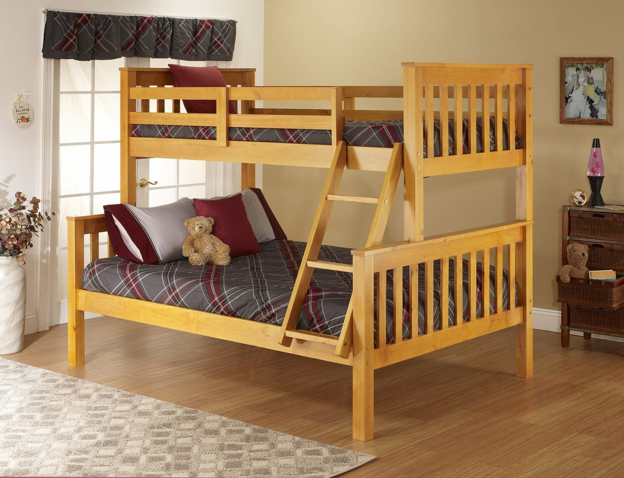 Honey Pine Twin over Full Bunk Bed Bunk beds, Full bunk
