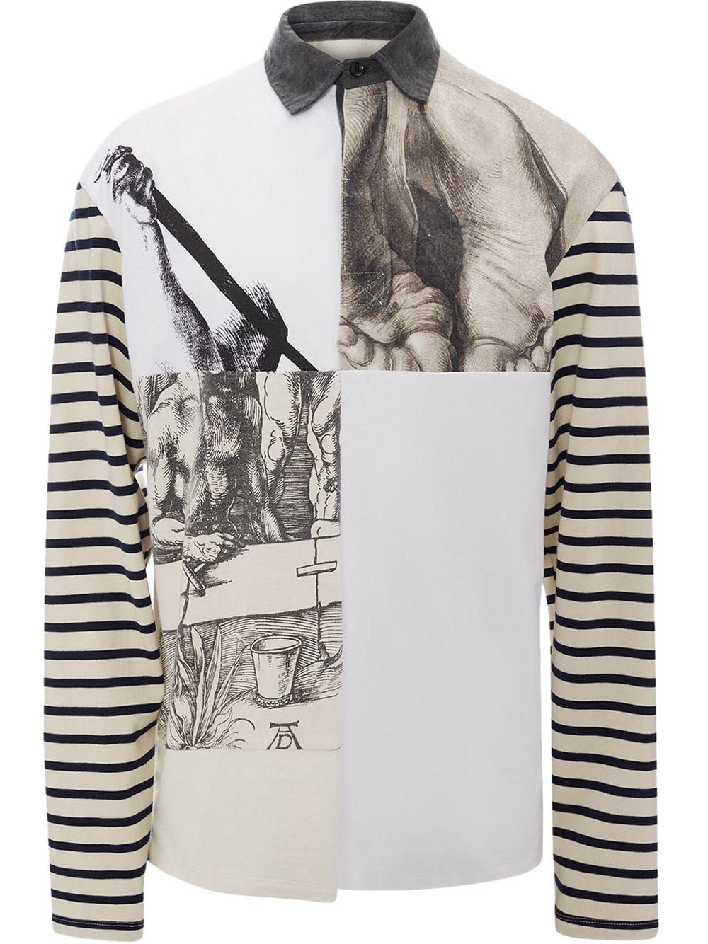 b4982429 J.W.ANDERSON JW ANDERSON OFF- WHITE DURER PRINTS RUGBY JERSEY LONG SLEEVE  POLO SHIRT. #j.w.anderson #cloth