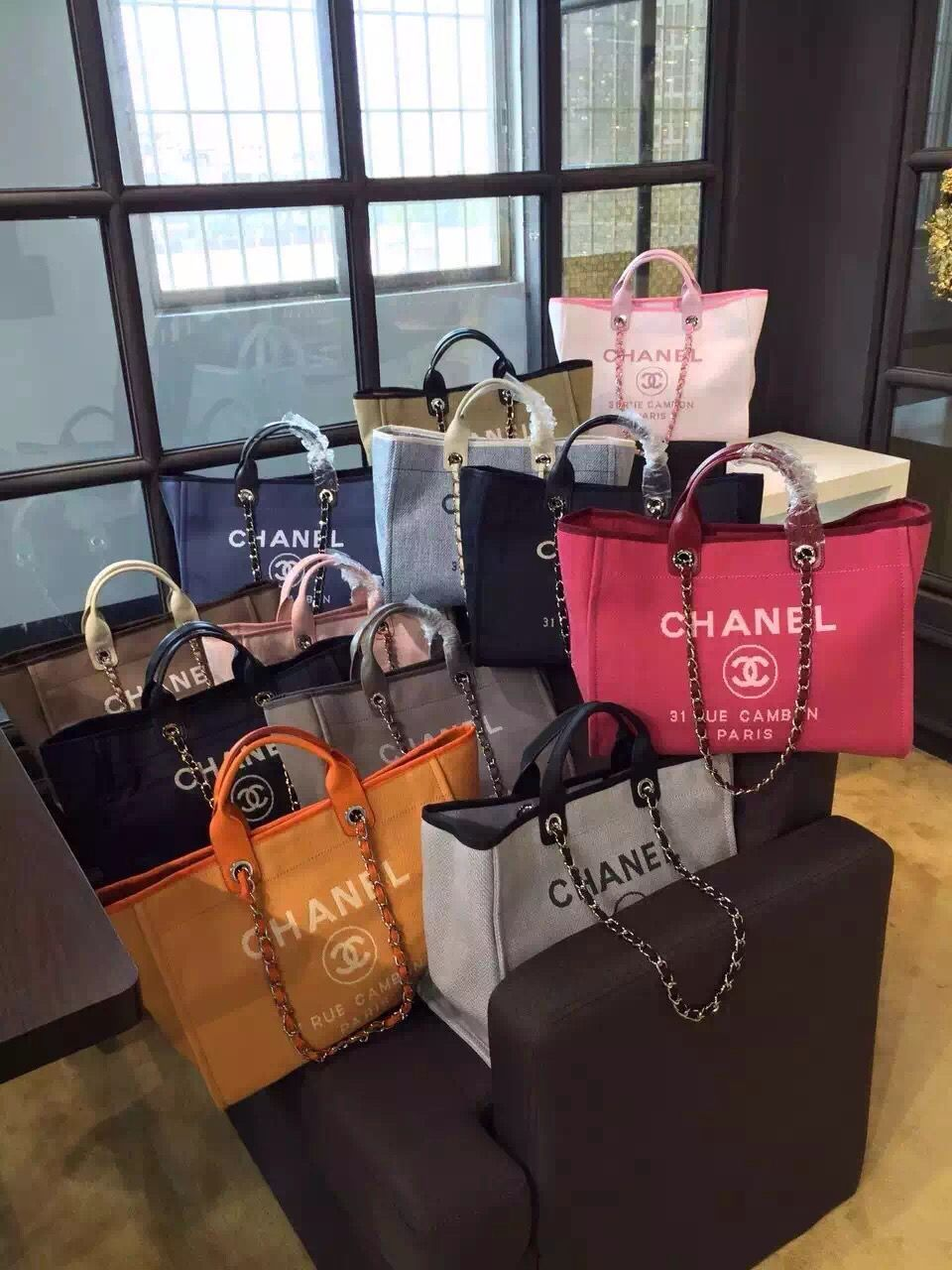 7b492b1ae583b8 Chanel Toile Deauville Canvas Shopping Tote Bag 2015-2016 Collection ...