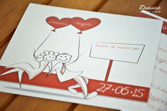 Partecipazioni Matrimonio Con Foto.Partecipazioni Matrimonio Con Sposini Disegnati E Cuori Rossi