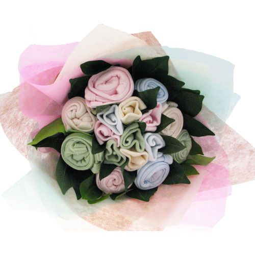 Hehe this is so cute - it's a bouquet made of newborn onesies, beanies and socks. Too precious!