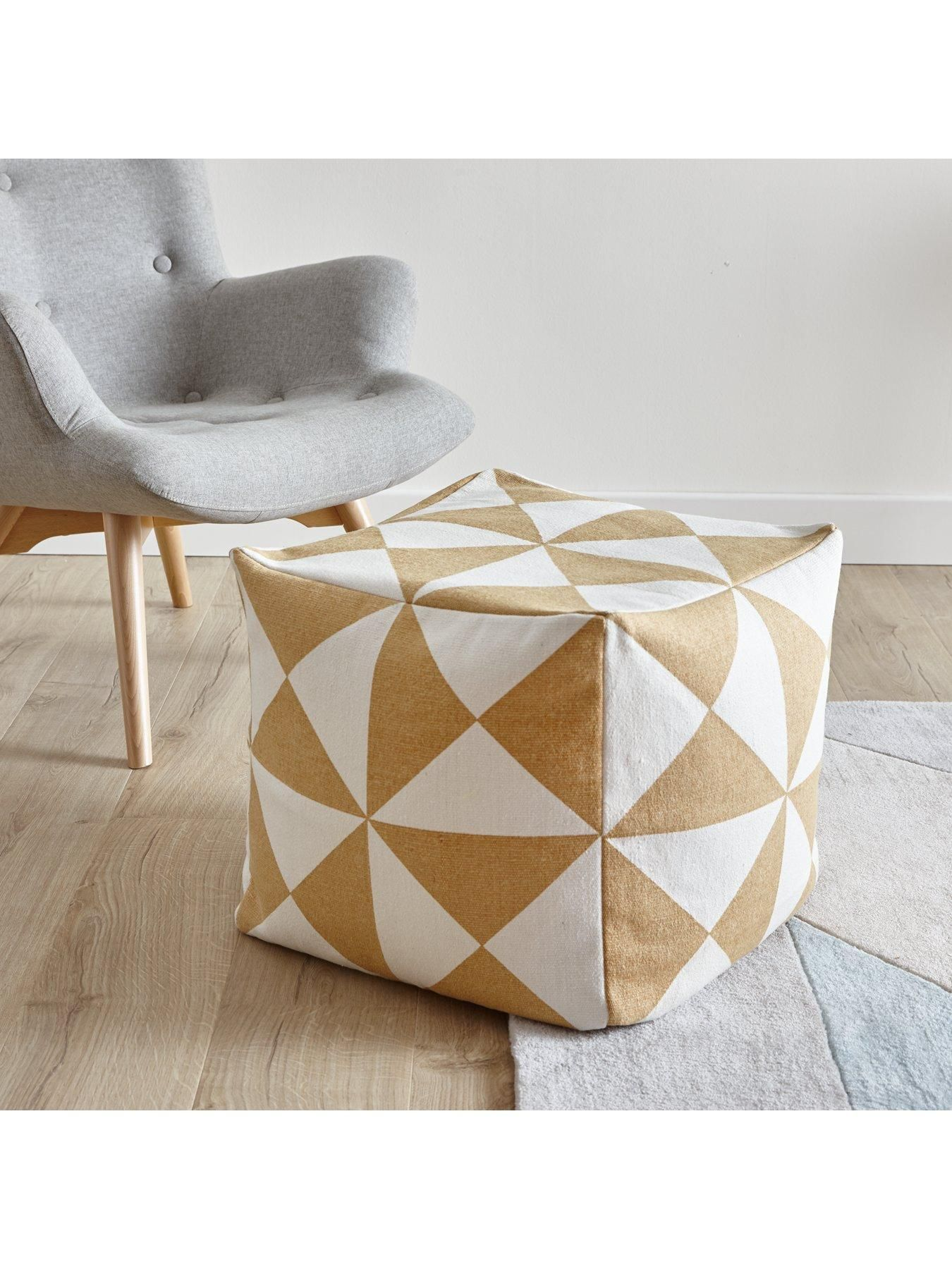 Ideal Home Printed Cotton Bean Cube | Printed cotton, Extra seating ...