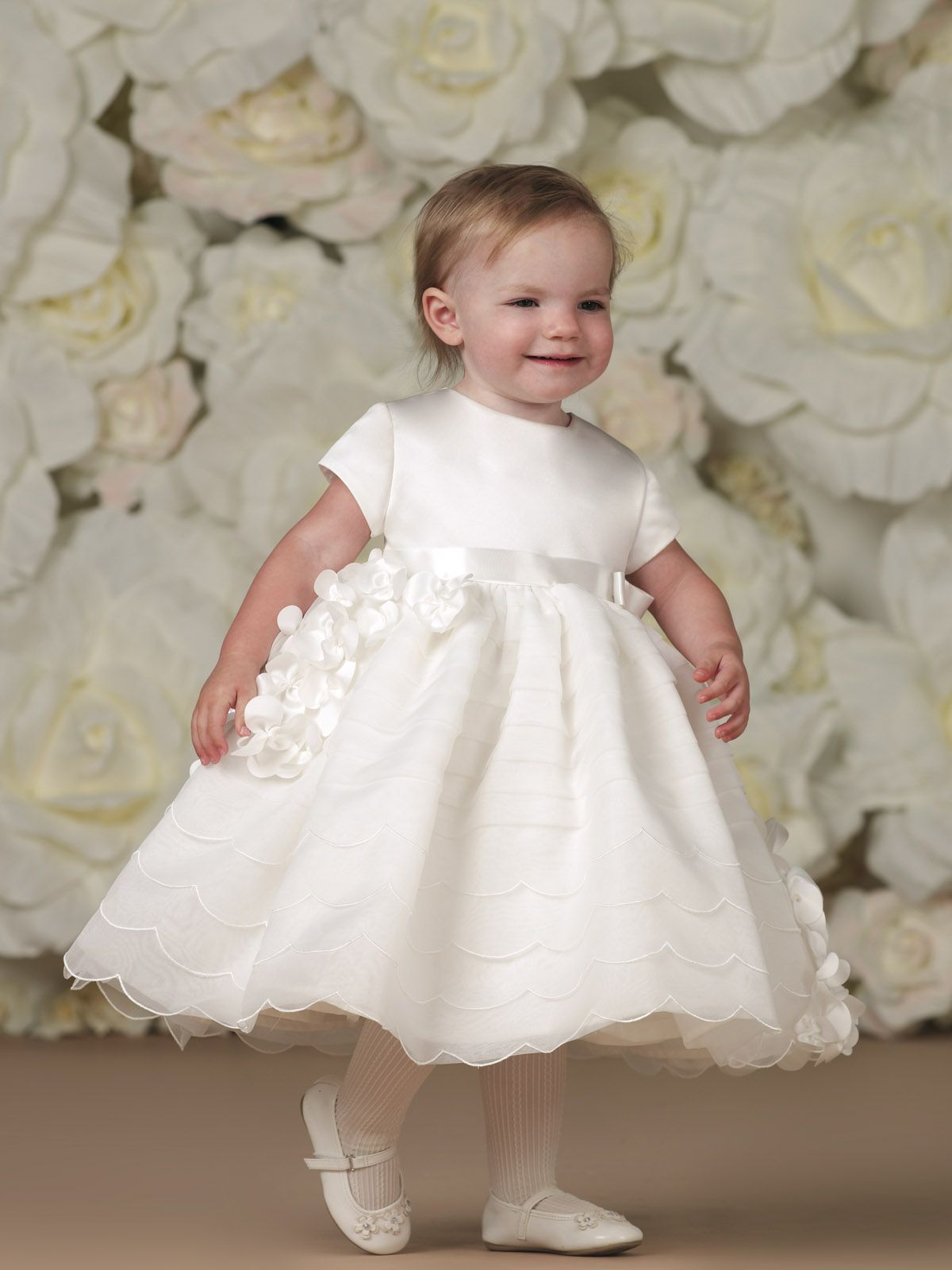 Satin and organza tea length A line fancy baby dress and toddler