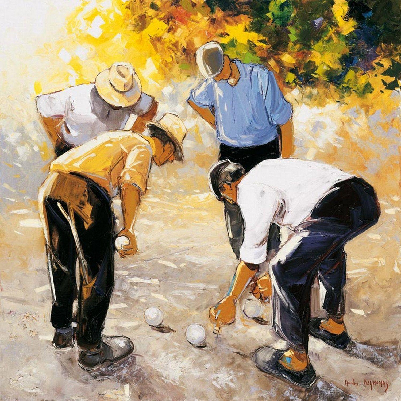 Affiche Les boulistes l.70 x H.70 cm en 2020 | Peinture, Dessin homme et Peinture au couteau