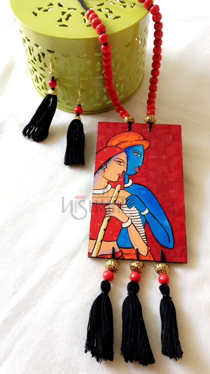 Pin By Samanti Babai On Hand Painted Pendant Handmade Fashion Jewelry Handmade Jewelry Designs Fabric Jewelry
