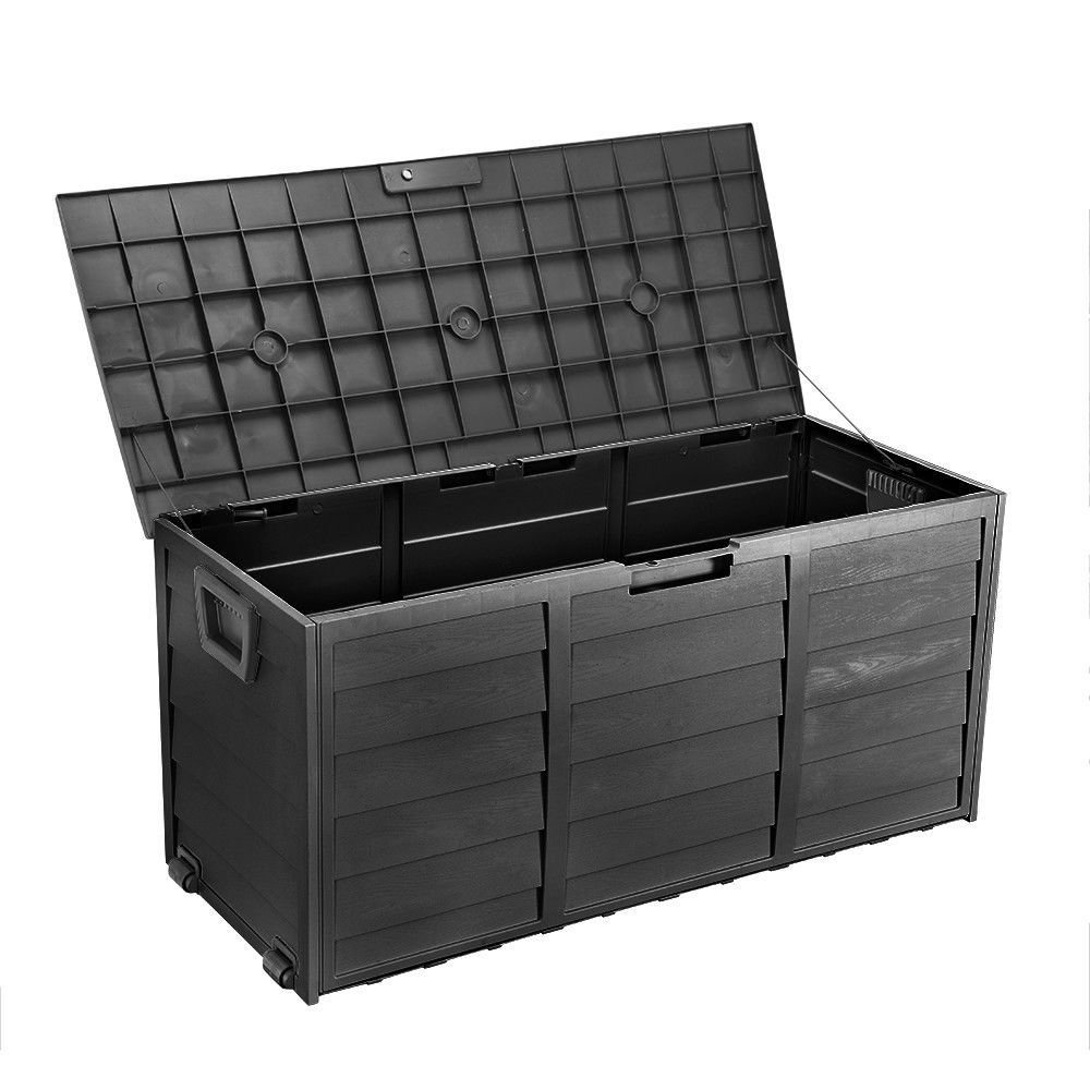 All Black Outdoor Storage Box 290l Large Capacity Waterproof Lockable Outdoor Storage Boxes Outdoor Garden Storage Garden Storage