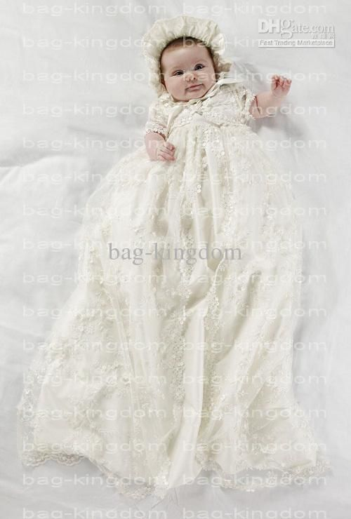 Stunning Christening Baby Gown Ivory Silk Cover Lace Christening ...
