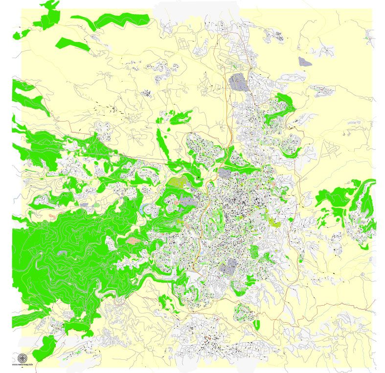 PDF Map of Jerusalem Israel printable HEBREW vector map Adobe