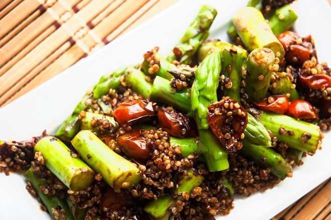 Asparagus & Quinoa with Balsamic Tomatoes (Roast tomatoes and asparagus with balsamic drizzled over instead)