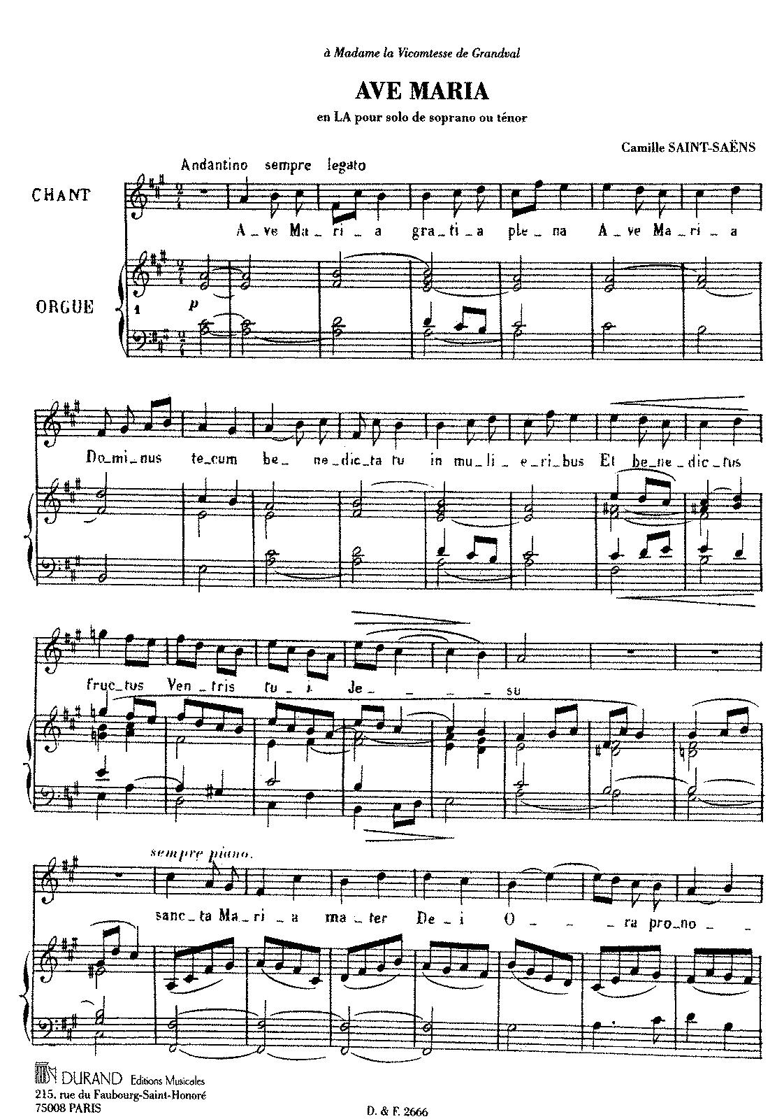 PMLP85520-Saint-Saëns - Ave Maria in A (1865).pdf | Mezzo sopraan in ...
