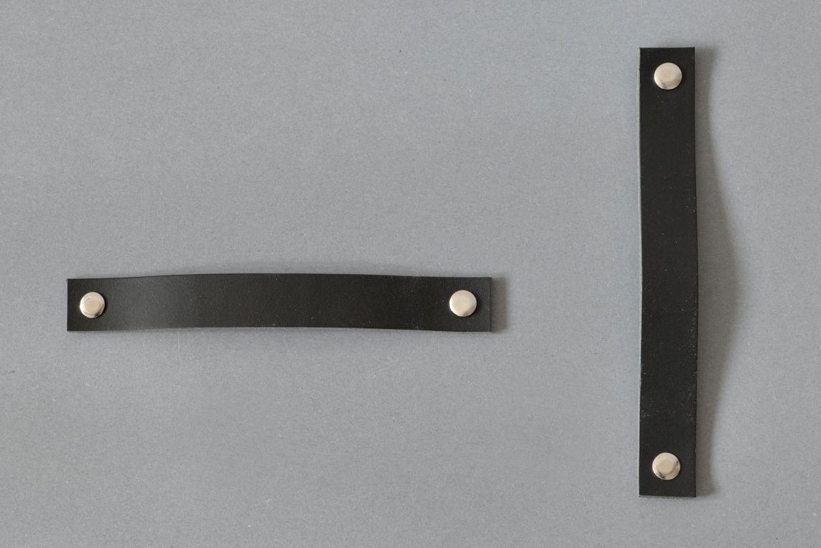 Lade # 1 black leather door handle
