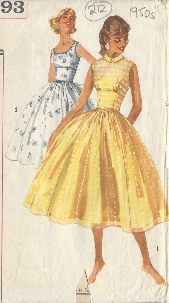 "1957 vintage sewing pattern dress B34/"" 212"