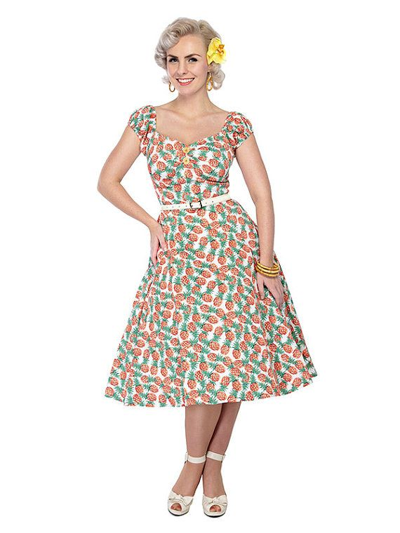 wholesale dealer bf93e abed4 This amazing bespoke pineapple fabric is truly delicious! The Dolores Doll  is a classic 1950s in...  vintage  retro  clothing ...